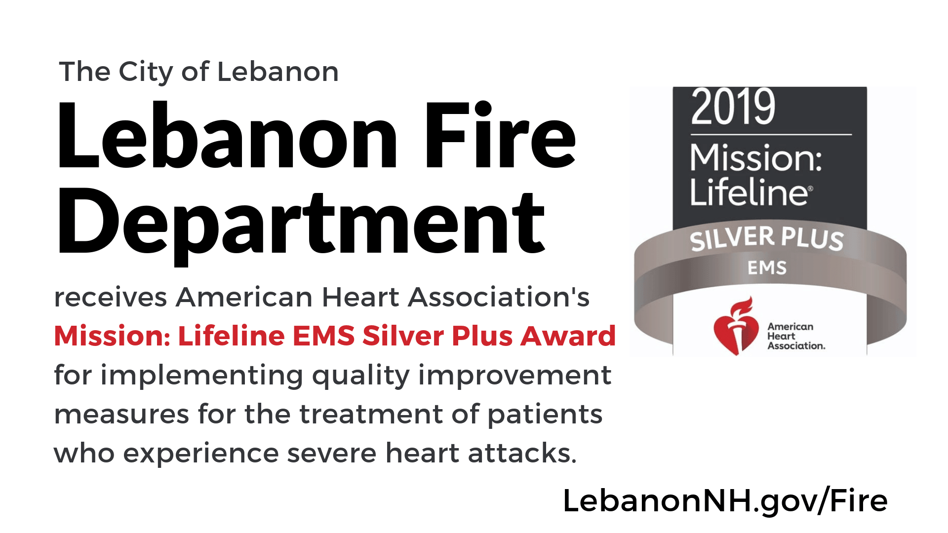 Lebanon Fire Receives AMA Mission: Lifeline Silver Plus Award