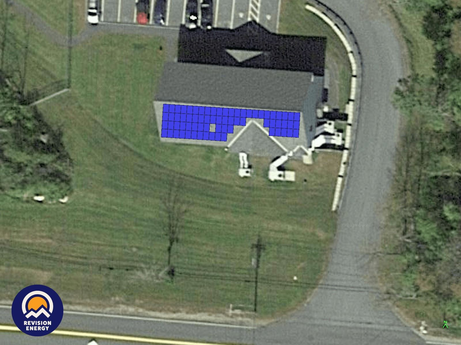 Lebanon Public Works Administration Building roof with solar array depiction