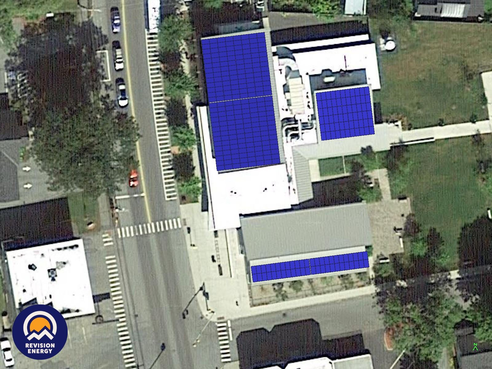 Kilton Public Library roof with solar array depiction