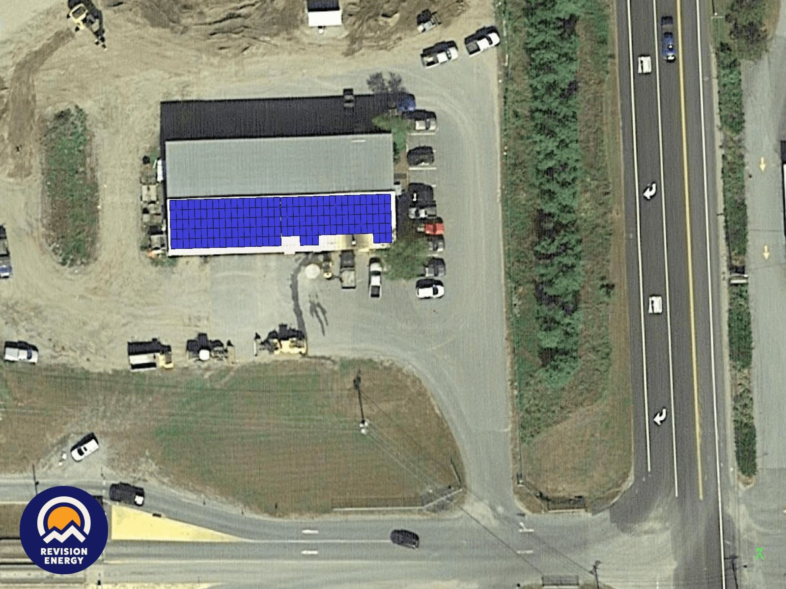 Landfill Maintenance Building roof with solar array depiction