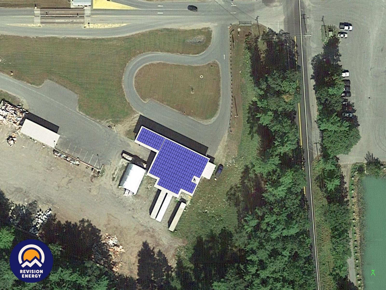 Landfill Recycling Building roof with solar array depiction