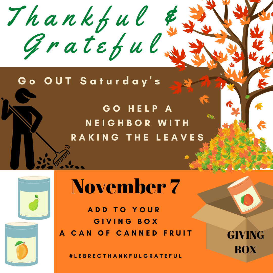 November 7 - Go help a neighbor rake leaves and add to your giving box a can of canned fruit. Opens in new window