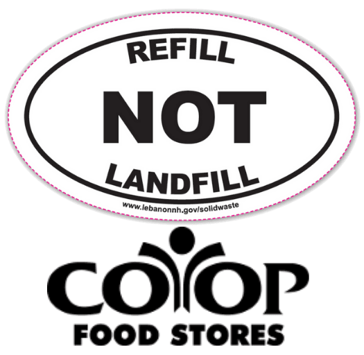 Refill Not Landfill logo with Coop Food Store logo